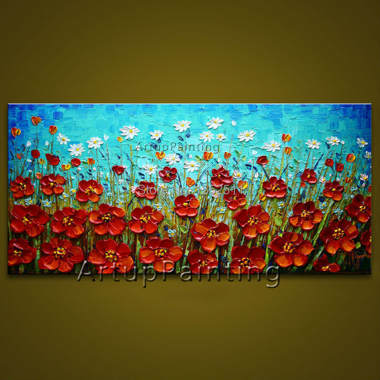 Buy flower hand painted wall painting for Hand painted walls