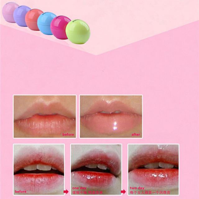 1PC Retail Makeup Round Candy Color Moisturizing Lip Balm Natural Organic Embellish Lip Gloss Ball Shape Lipstick GI2001