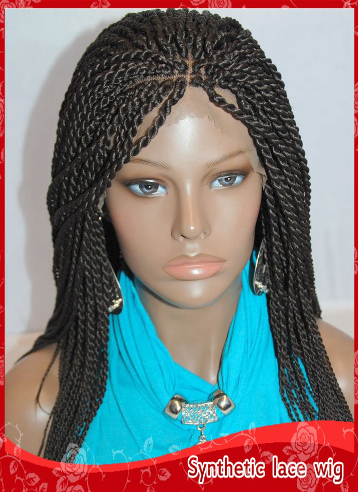 New Style twist havana Full Hand Braided lace front wigs #1 micro jumbo braided wigs synthetic lace front wig for fashion women<br><br>Aliexpress