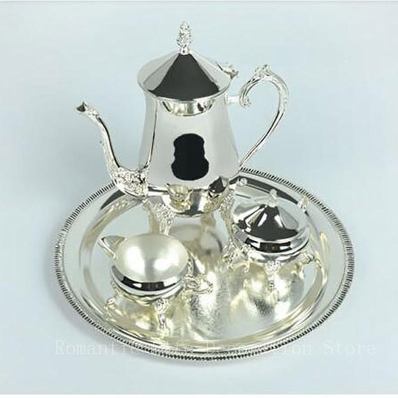 New gloss silver plated metal coffee tea sets drinkware wine set for wedding or party or KTV 1 set=1 plate+1 coffee pot+ 2 jars(China (Mainland))
