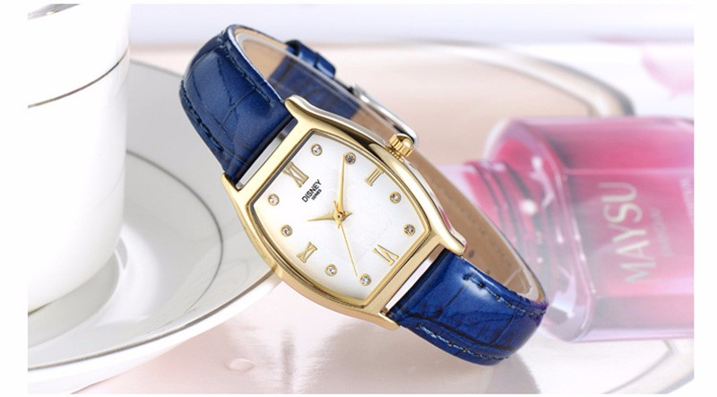 DISNEY 2016 New Brand Women Luxury Dress Watches Cask Leather Strap Fashion Quartz-Watch Student Wristwatches Lady Clock