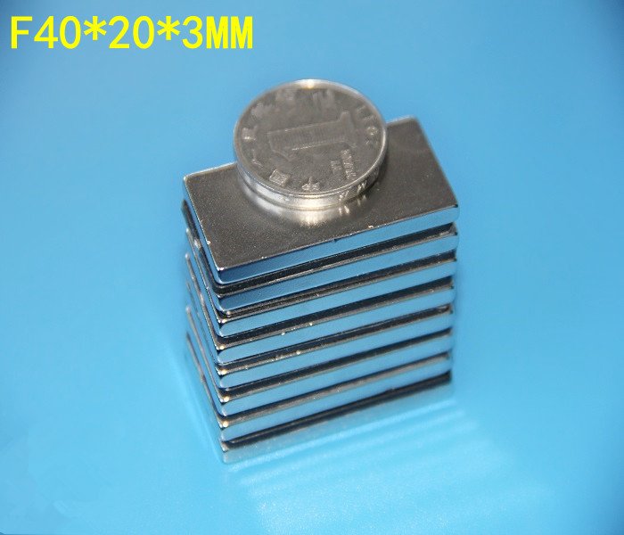 8 pcs NdFeB Magnet Block for Automotive Oil Filter 40x20x3 mm Strong Neodymium Magnets 150 degree C. Filter Magnets(China (Mainland))