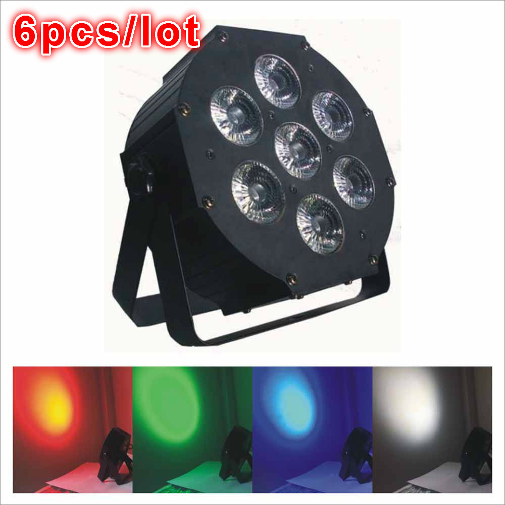 6pcs/lot 7x12W RGBW 4IN1 Iron Case Led Flat Par Light,7pcs*12W 4IN1 Flat LED Par Light,DMX512 With temperature control function(China (Mainland))