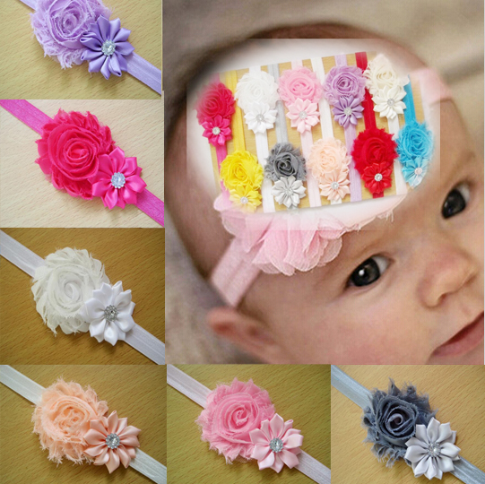 12 Pc/lot Different Colors Kids Girl Baby Toddler Infant Flower Hairband Headband Headwear Hair Bow Band Accessories A077-1(China (Mainland))