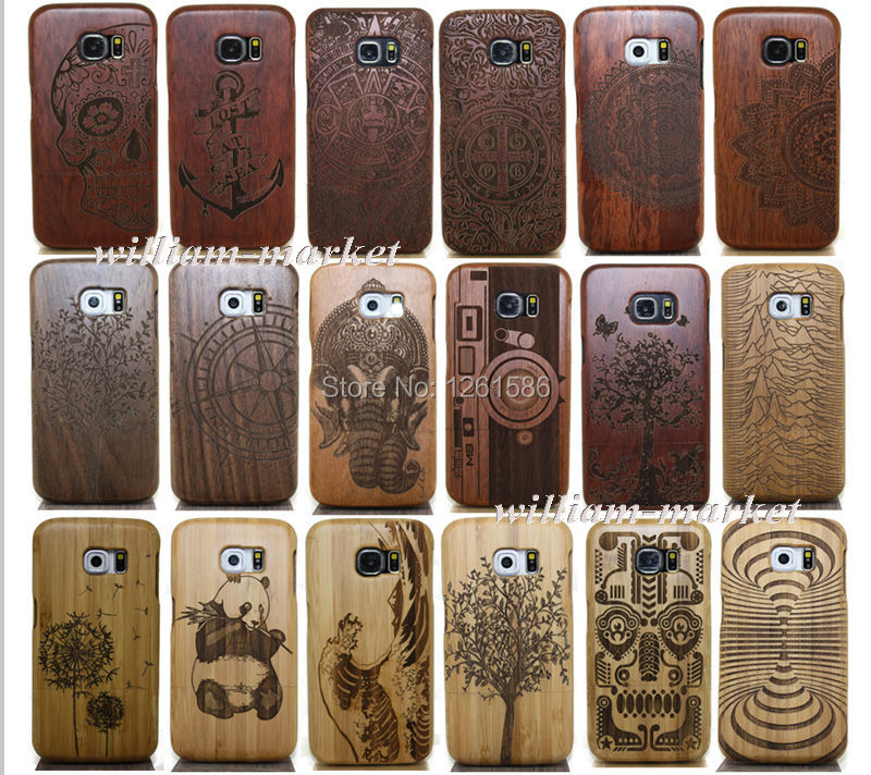 Nature Wooden Coque Fundas Bamboo Tree/Compass /Wave/Ocean Multi-Pattern Case Cover For Samsung Galaxy S4 Mini/S5 S6 Edge S7 +(China (Mainland))