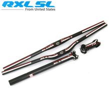 Buy RXL SL Full Carbon Fiber MTB Bicycle Handlebar Bicycle Stem+ Carbon seatpost tube + Flat Riser Mountain Bike Bar for $43.68 in AliExpress store