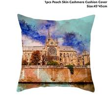 Taoup 1pc 45*45cm European Style Notre Dame de Paris Pillowcase Landscape Peach Skin Happy Birthday Party Decor for Home Custom(China)
