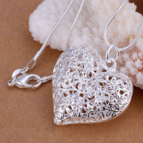 925 silver necklace pendant Frosted floating locket Wholesale Free shipping Silver 925 fashion jewelry rope chain KNSP218(China (Mainland))