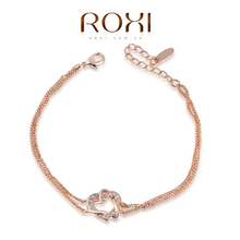 ROXI Classica Crystals Sample Sales Yellow Gold Plated Love Heart Bracelet Jewelry Party OFF2060012355B(China (Mainland))