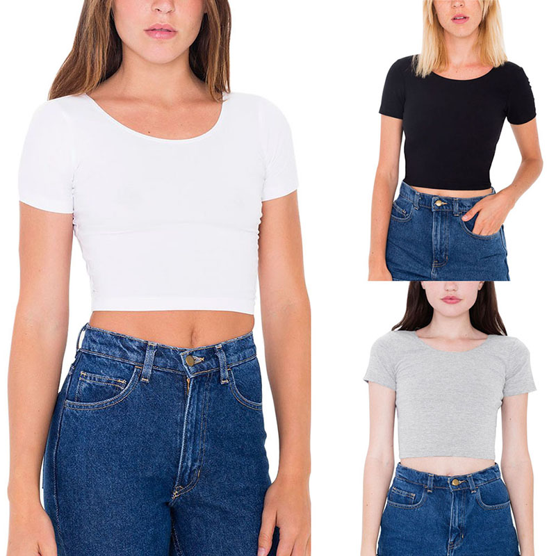 Wholesale fashion women o neck sexy crop top ladies short for Very cheap t shirts online