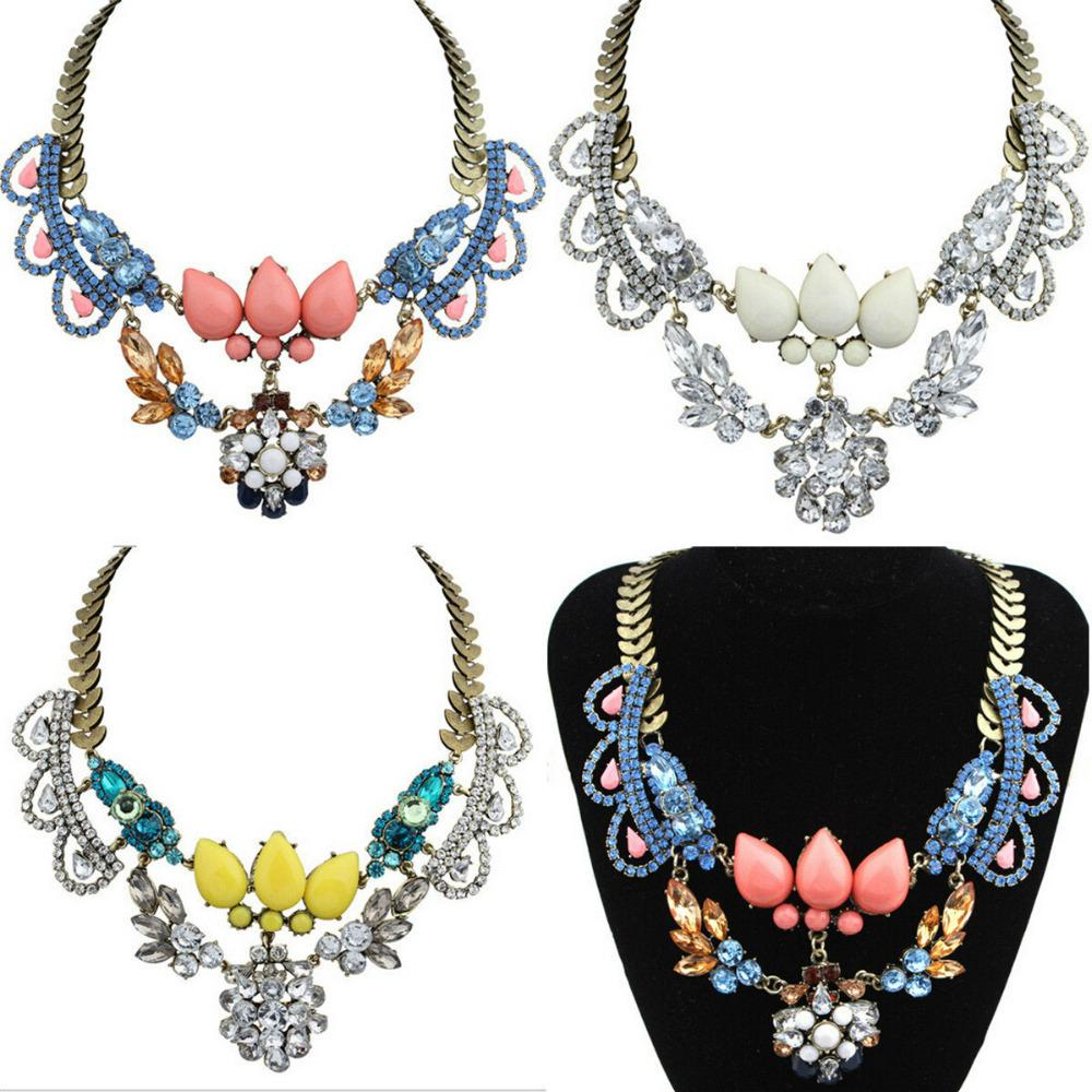 European and American big metal luxury jewel bright flowers temperament short necklace(China (Mainland))