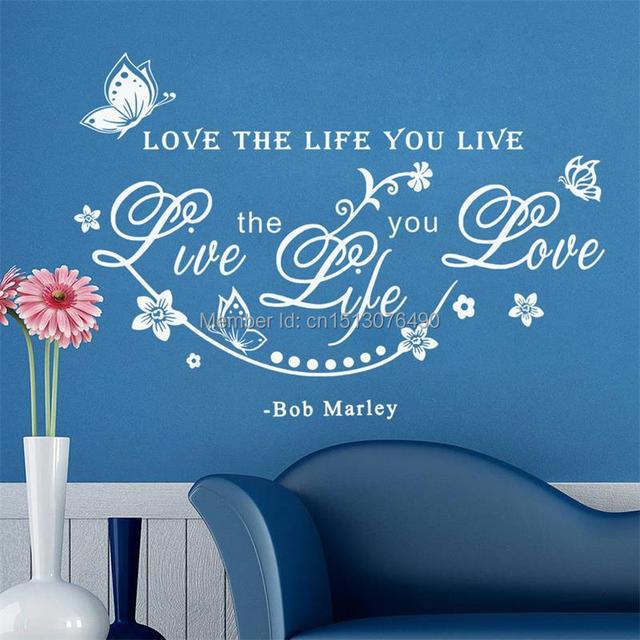 """Ebay горячая распродажа бесплатная доставка боб марли наклейки на стены вдохновляющие цитаты наклейки """" любовь жизнь вы живете"""
