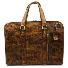 2015 New Retro Alligator Oil Wax Genuine Leather Men's Briefcase Handbag Shoulder Bussiness Zipper Laptop Messenger Bags(China (Mainland))