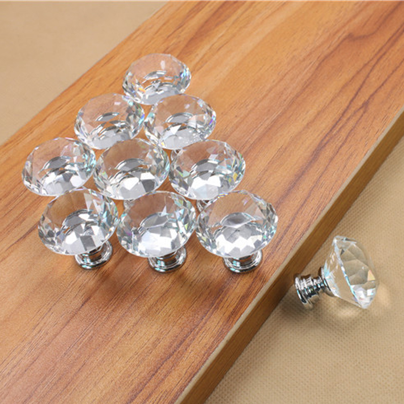 5PCS 30mm Clear Crystal Glass Diamond Door Handles Kitchen Home Cabinet Cupboard Wardrobe Knobs Drawer Handles Hardware(China (Mainland))