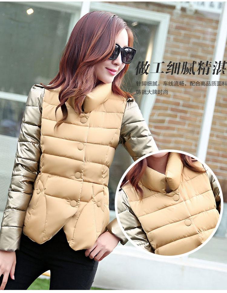 Скидки на Зима короткая куртка женщин тонкий dtand ошейник с длинным рукавом теплый хлопка ватник женщины плюс размер одежды 2016 осень куртка mujer