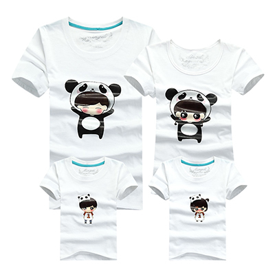 2015 Fashion Family Matching Clothes Cotton T-Shirt Summer Matching Mother Daughter Clothes Lovely Pattern Family Look T-shirt(China (Mainland))