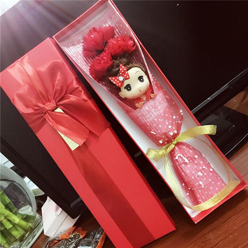 Cartoon EP Artificial Flower Christmas Decoration 1pcs toy doll +3pcs soap flower +box Romantic Valentine Birthday wedding Gift(China (Mainland))