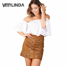 Buy VESTLINDA Embroidery Skirts Feminino 2017 Fashion Women Mini Skirt Bodycon Sheath Zipper Type Ladies Straight Vintage Skirt for $7.39 in AliExpress store