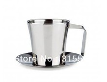 Hot selling!! High quality Double Wall Stainless Steel Coffee Cup & Saucer G35002L