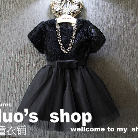 2016 New Spring Autumn Baby Kids Girls Dresses Faux Fur Dress Girls Short Sleeve Dresses Warm Thick Girls Clothes Girl 3-8Y(China (Mainland))