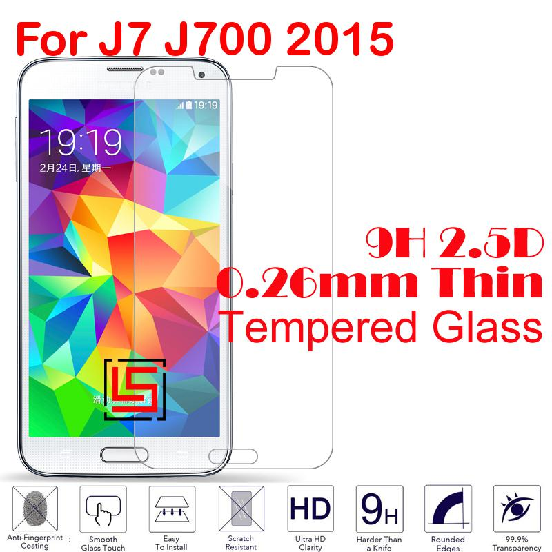 0.26mm 2.5D 9H Tempered Toughened Temper Glass Phone Front Film Screen Protector Guard For Samsung Galaxy Galaxi J7 J700 2015(China (Mainland))