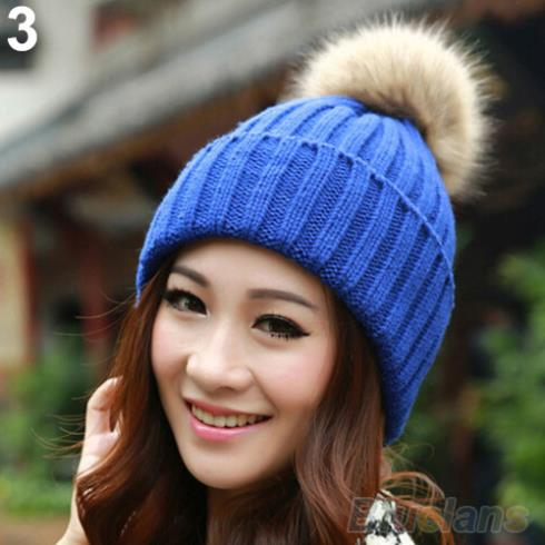 Women Winter Warm Braided Crochet Knitting Hat Girl Beret Ski Beanie Ball Cap 1T3A