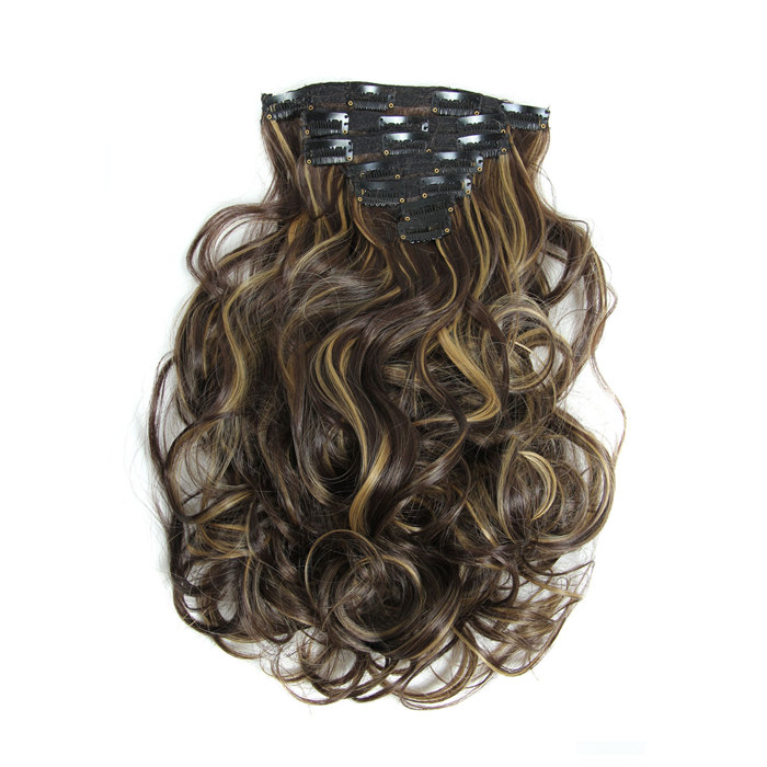 20 inch Long Curly Wave Hair Pieces 16clips 7piece/set Clip in Hair Extensions Heat Resistant Synthetic Fake False Hair 160g