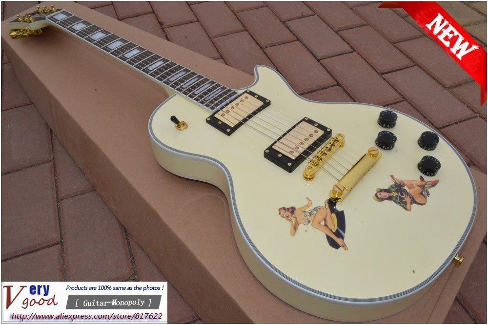New! LP Yellow Color 1958 VOS Guitar Beauty Girl decoration, mahogany electric guitar free shipping<br><br>Aliexpress