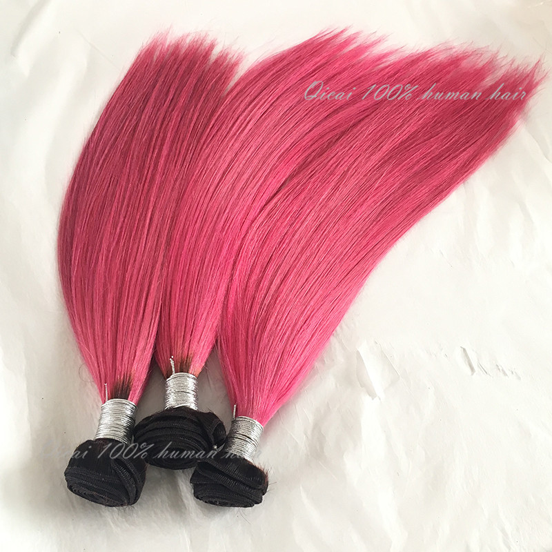 Malaysia Virgin Hair Straight 7A Unprocessed Virgin Hair Weft Cheap Malaysia Hair 3Bundles Ombre Pink Human Hair Extensions