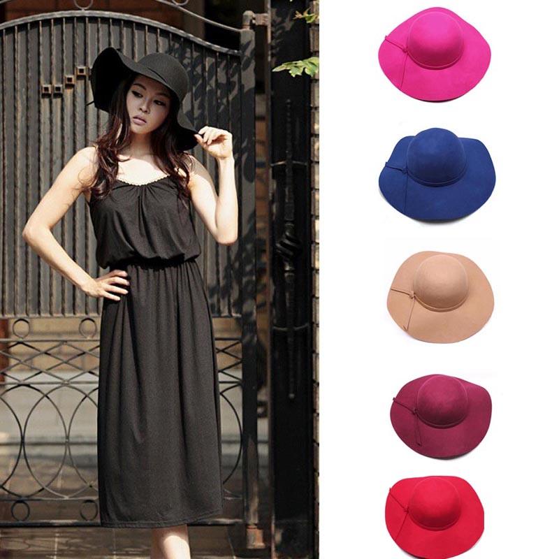2015 Women Girls Wool Fedora Hat Wide Brim Felt Bowler  Lady Floppy Cloche Hat Fashion Tiene SALEОдежда и ак�е��уары<br><br><br>Aliexpress