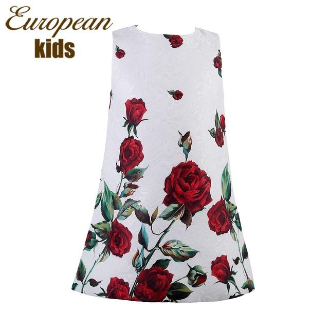 Халат Fille девочка платье роуз цветочный узор платье-линии платье принцессы для девочек платья детей европейский стиль одежды Vestidos Meninas