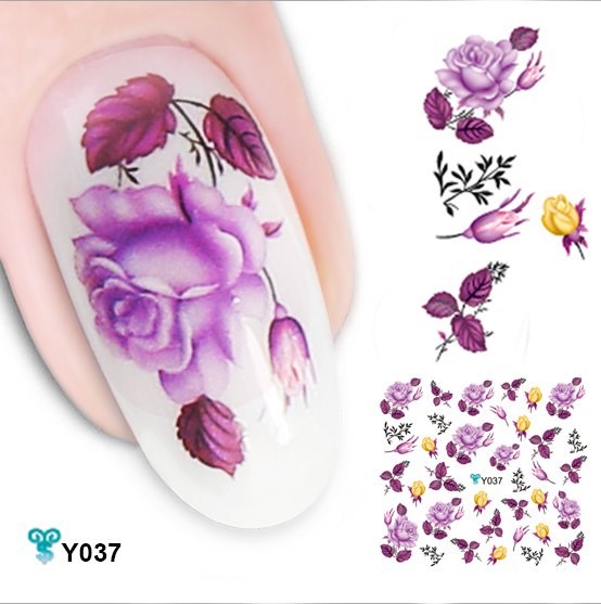 Freeshipping 6PCS Lot Mixed Design Water Decals Very Beautiful 3D Flower Transfer Nail Sticker