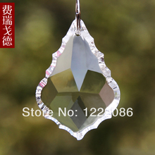 25pc clear color machine cut and polish chandelier crystal baroque leaf pendants 50 mm rings are free(China (Mainland))
