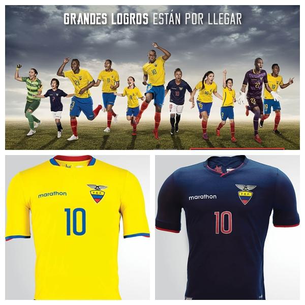 New Ecuador Marathon Sports Jerseys 2015-2016 Yellow/blue Ecuador Copa America home Kits 2015 home away Ecuador shirts 2015/16(China (Mainland))