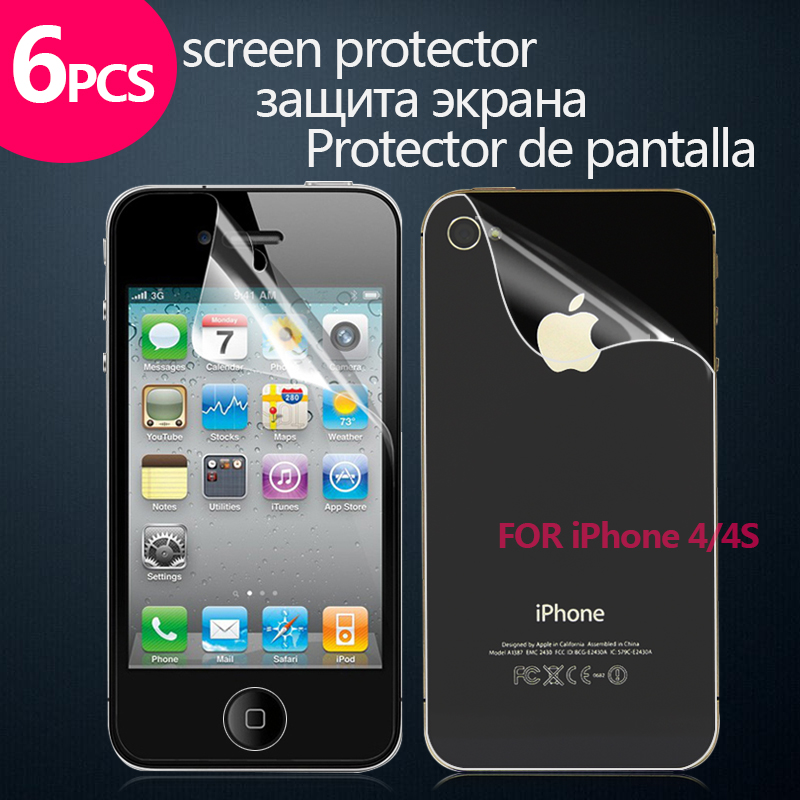 Clear Screen Protector for Iphone 4 4S Ultra Clear Screen Guard for Iphone Clear Protector for Iphone 4S front and back(China (Mainland))