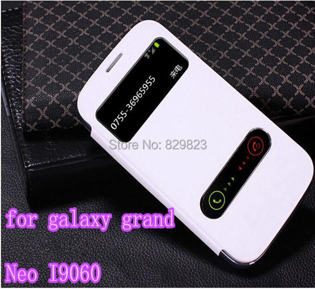 Гаджет  For Original Samsung Galaxy Grand Neo I9060 9060 View Flip Leather Phone Window Case Back Cover  Free shipping None Телефоны и Телекоммуникации