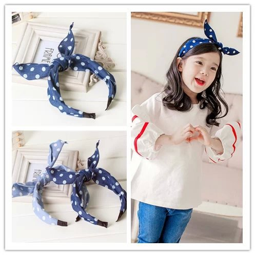 boutique blue baby girls top knotted hair ties clasp head wraps polka dot cute rabbit bunny ears headband hairbands accessories(China (Mainland))