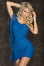 sexy blue ruffles sleeves cheap babydoll
