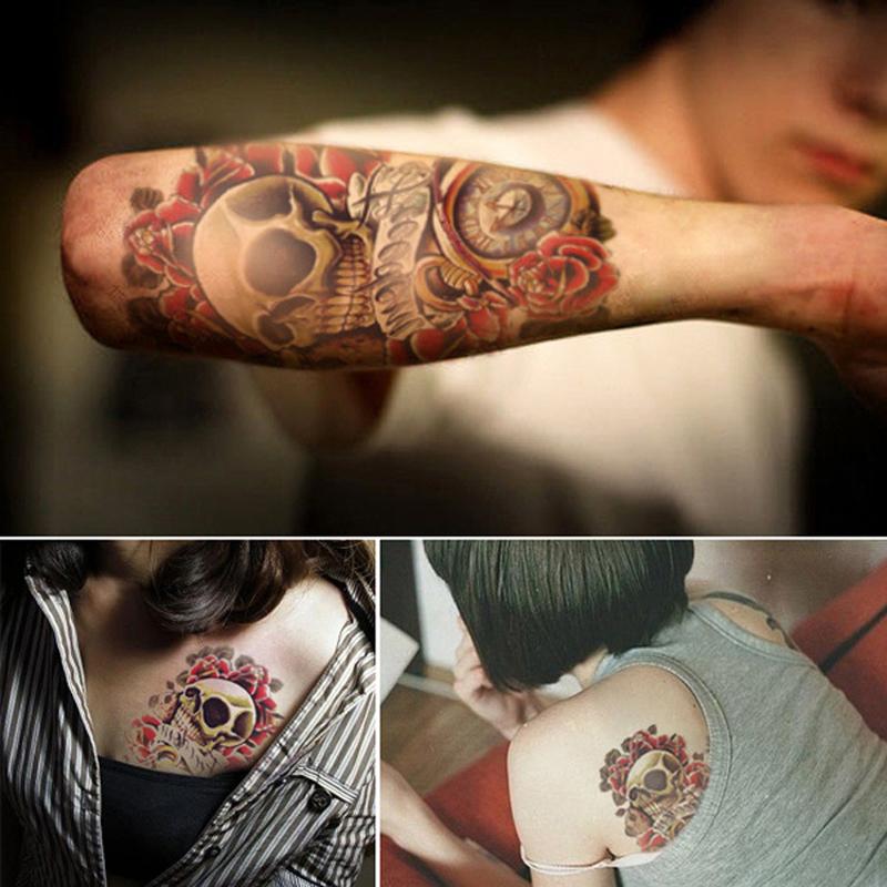 2PCS Waterproof Temporary Tattoos for Men Arm 3D Tattoo Sticker for Body Art Punk Skull Pattern Transferable Tattoo Sleeve(China (Mainland))