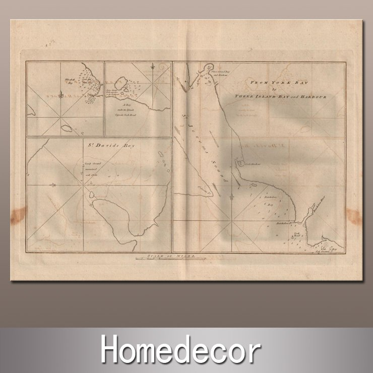Ancient historical world map-Capt. Cook Bays and Harbors off Coast of Chile - Cooks First Voyage in 1865 canvas printing decor(China (Mainland))