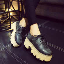 2015 platform shoes female lacing round toe thick heel HARAJUKU leather pumps women's british style high heel shoes