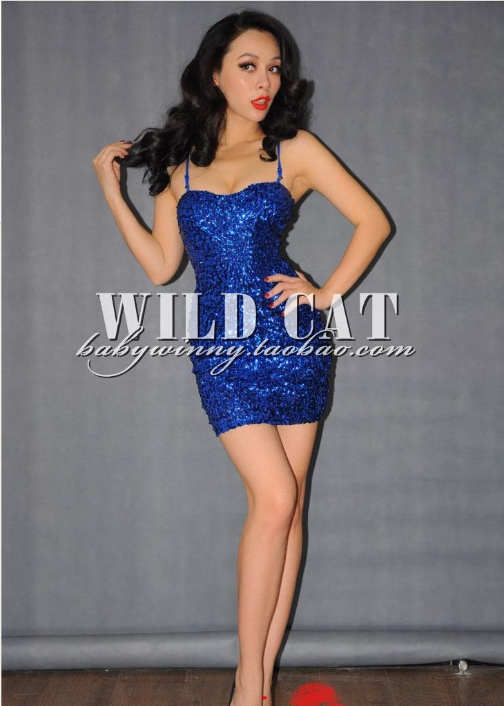 Nobody costume sex sequined dress strap paillette dance dress one-piece dress dance stage clothing(China (Mainland))