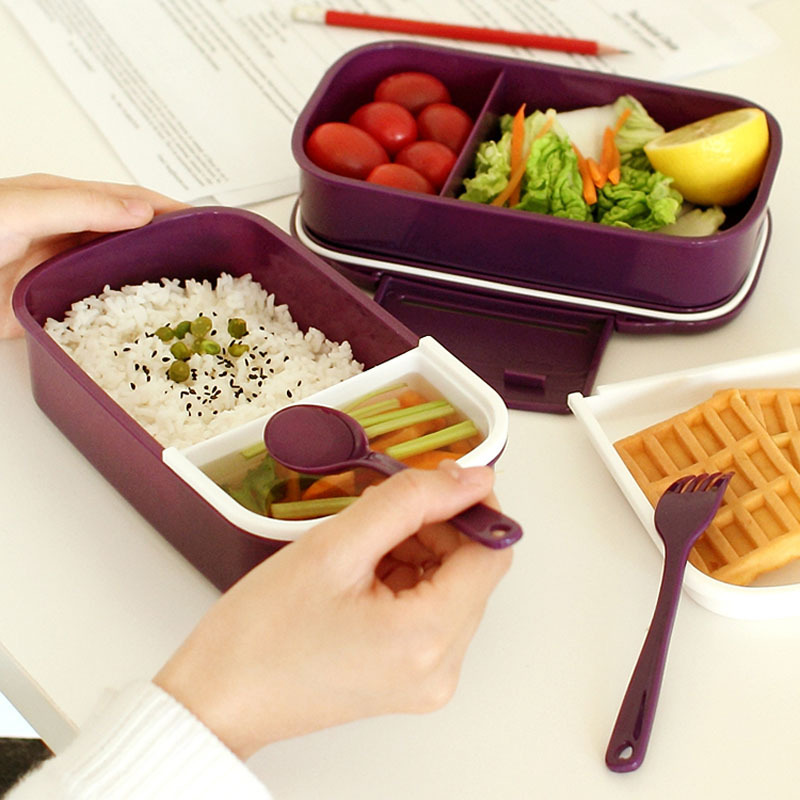 Most Popular Japan style Bento lunch box 12:00 It's lunch time Bento Plastic Food Containers Double Tier Tableware Cooking Tool(China (Mainland))