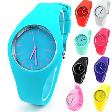 Fashion Soft Geneva Womens Candy Jelly Silicone Sports Watch students Watch