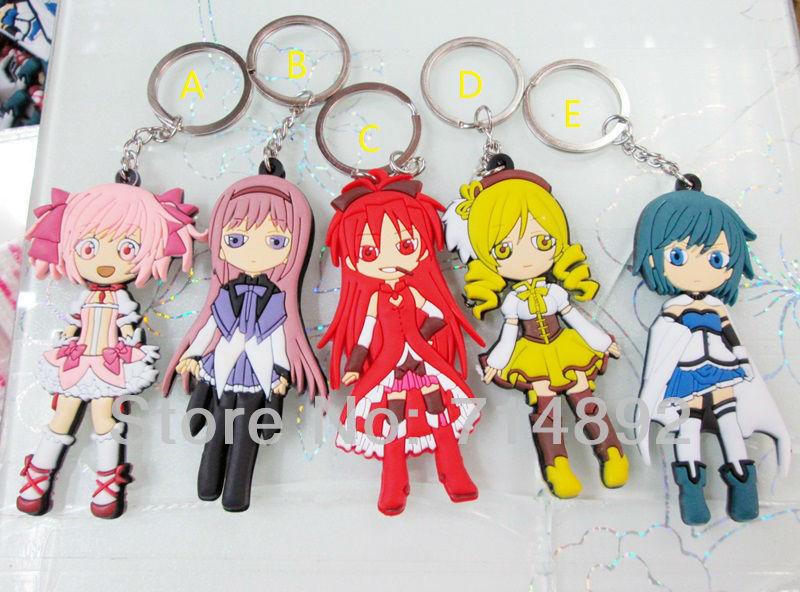 50pcs/lot Puella Magi Madoka Magica Kaname Madoka / Akemi Homura / Sakura Kyoko / Miki / Tomoe Figures Keychains Free Shipping<br><br>Aliexpress