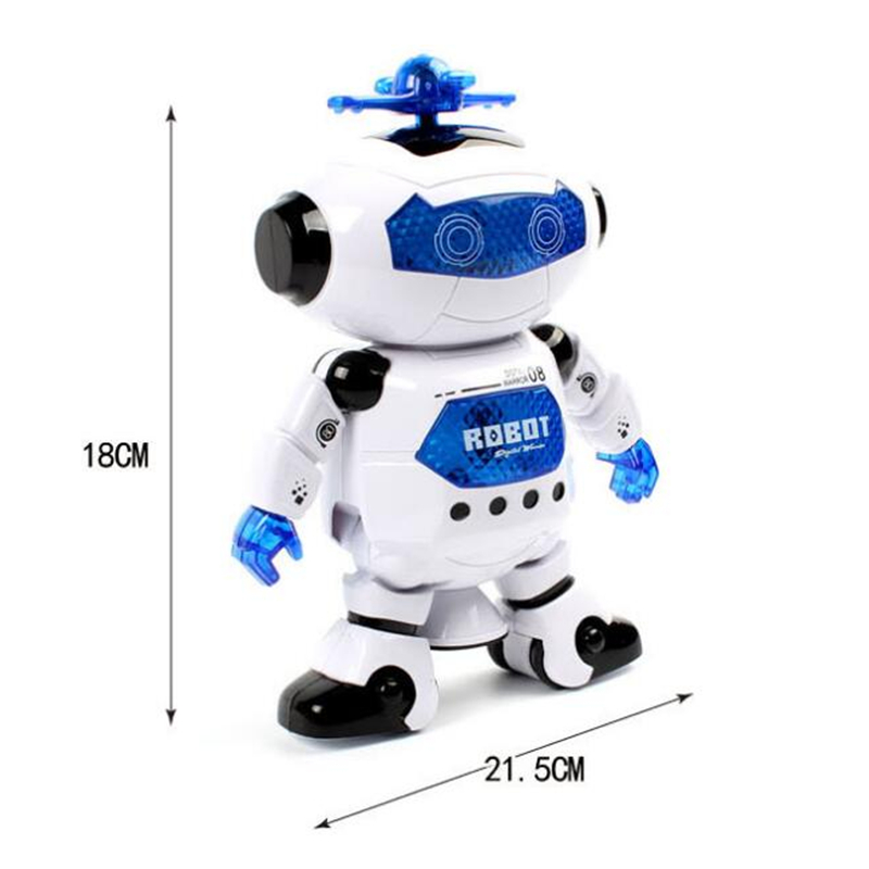 2016 New High Quality Lovely 360 Degree Rotation Smart Space Electric Robot Dancing Music Light Toy Kids Birthday Gift(China (Mainland))