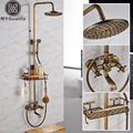 Antique Brass Wall Mounted Bathtub Shower Set Faucet Dual Handle with Commodity Shelf Bathroom Shower Mixers