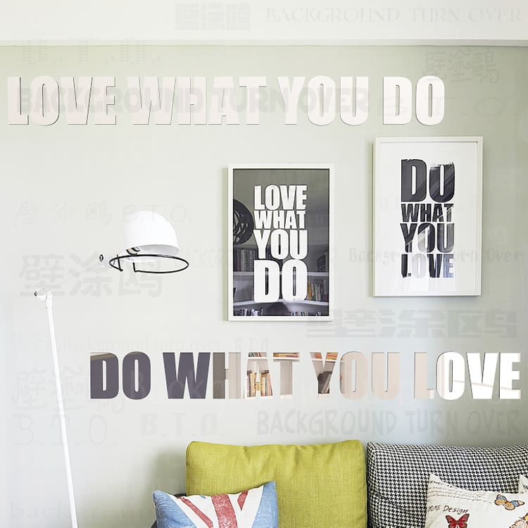 Diy Love What You Do Do What You Love Acrylic Mirror Decorative Letters Wall Decals Quotes Home Bedroom Decor R036