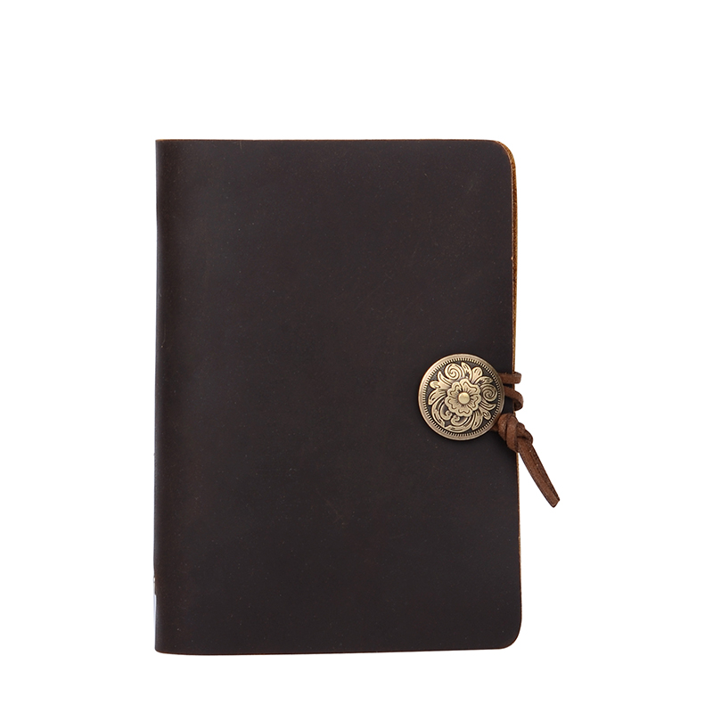 Genuine Leather Notebook Vintage Style Cowhide 4 Color A6 A7 Diary Book Loose-leaf Books Print Logo - Bststone Store store
