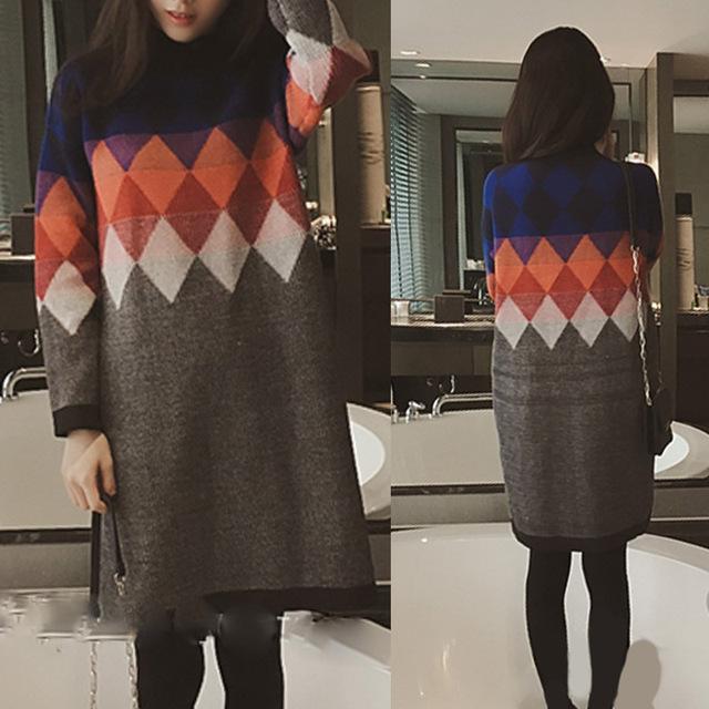 Женский свитер (пуловер). Новая коллекция зима 2015. Новая Корейская мода. Свободный ...